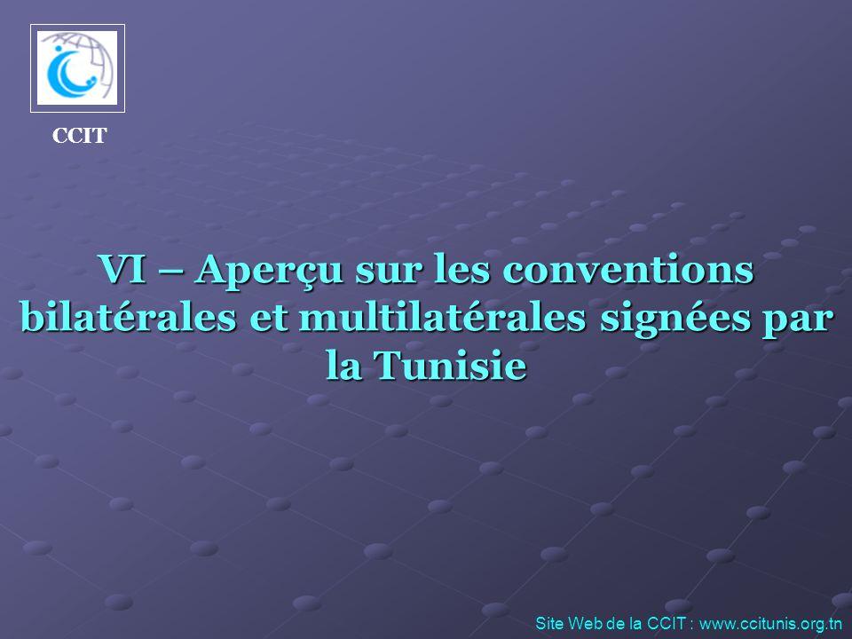 VI – Aperçu sur les conventions bilatérales et multilatérales signées par la Tunisie Site Web de la CCIT : www.ccitunis.org.tn CCIT