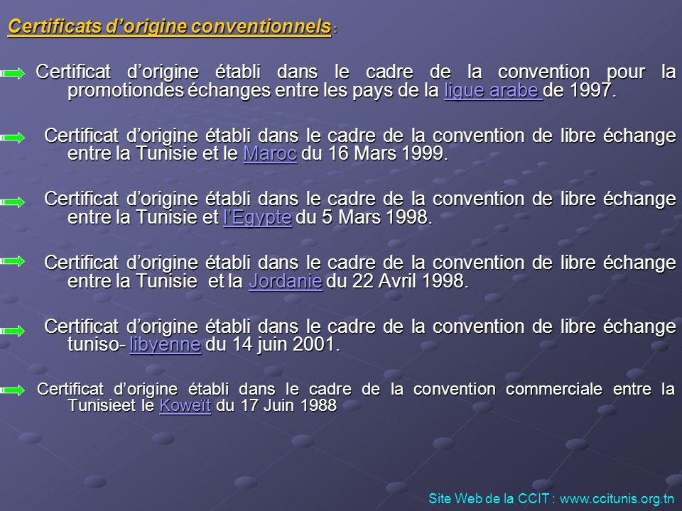 Certificats dorigine conventionnels : Certificat dorigine établi dans le cadre de la convention pour la promotiondes échanges entre les pays de la lig