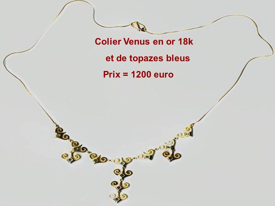 Colier Venus en or 18k et de topazes bleus Prix = 1200 euro