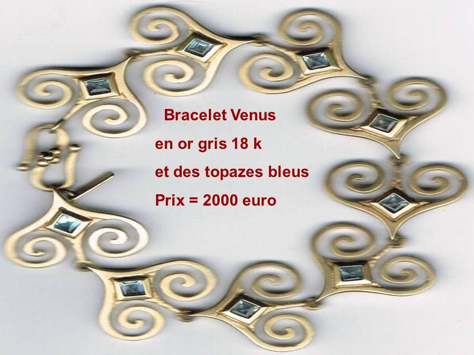 Bracelet Venus en or gris 18 k et des topazes bleus Prix = 2000 euro
