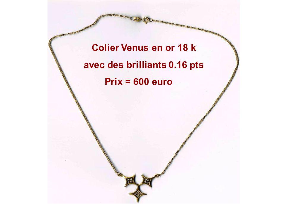 Colier Venus en or 18 k avec 0.96 pts de brilliants Prix = 2500 euro