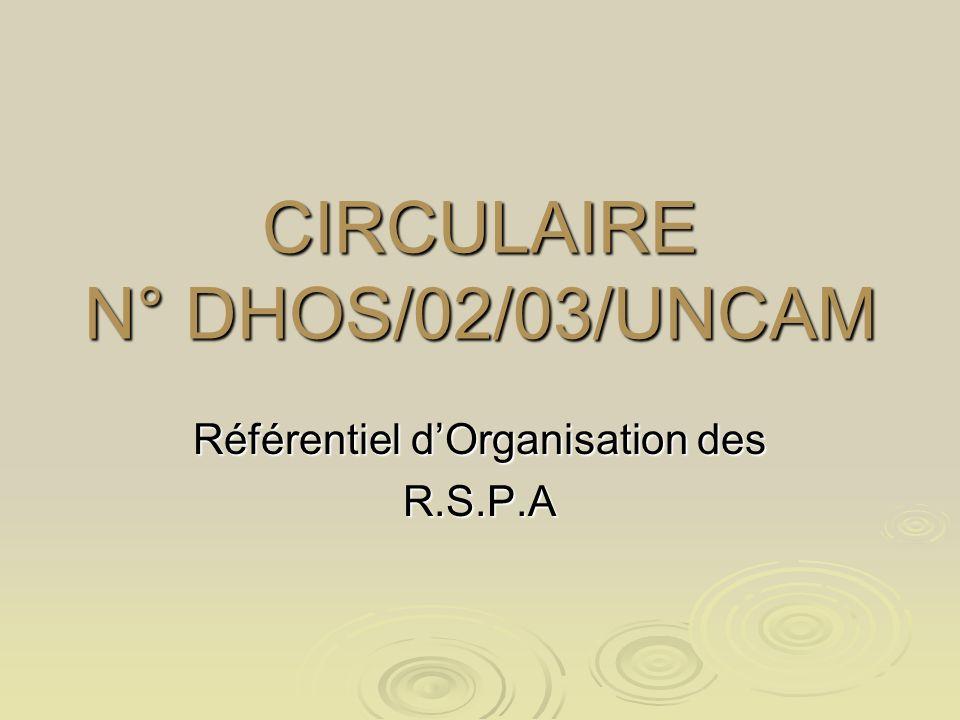 CIRCULAIRE N° DHOS/02/03/UNCAM Référentiel dOrganisation des R.S.P.A