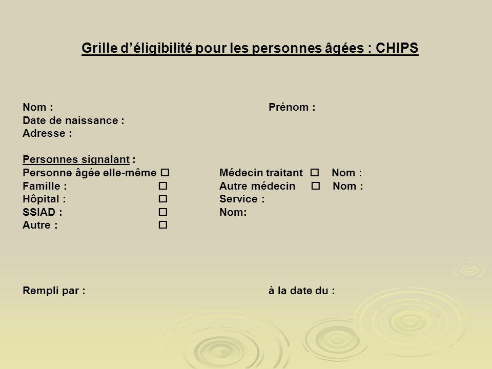 Grille déligibilité pour les personnes âgées : CHIPS Nom :Prénom : Date de naissance : Adresse : Personnes signalant : Personne âgée elle-même Médecin