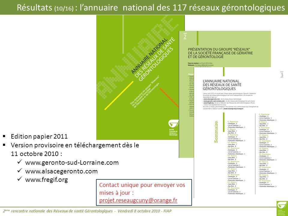 Résultats (11/16) : les actions mutualisées en régions 2 ème rencontre nationale des Réseaux de santé Gérontologiques - Vendredi 8 octobre 2010 - FIAP Sur quoi porte la mutualisation inter-réseaux gérontologiques .
