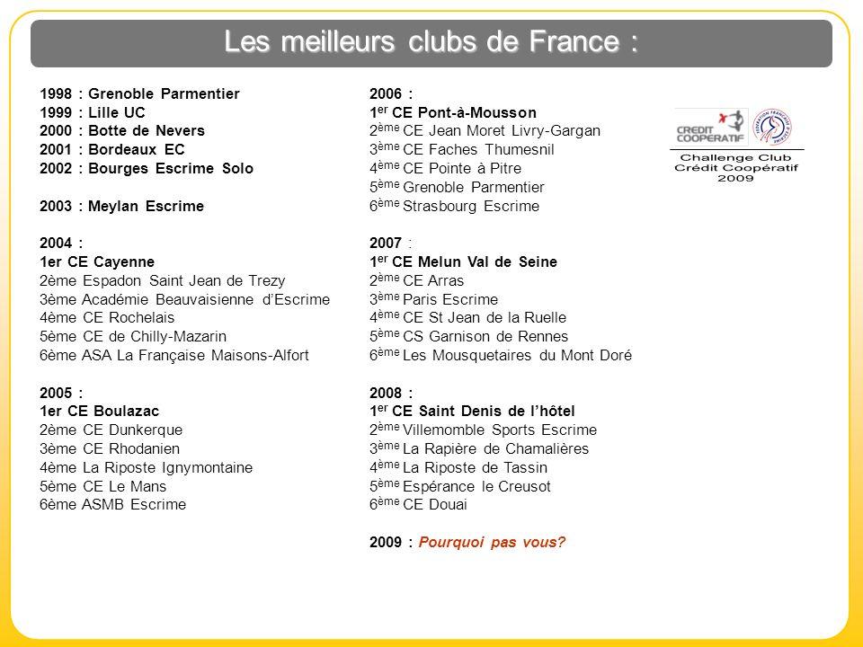 Les meilleurs clubs de France : 1998 : Grenoble Parmentier 1999 : Lille UC 2000 : Botte de Nevers 2001 : Bordeaux EC 2002 : Bourges Escrime Solo 2003