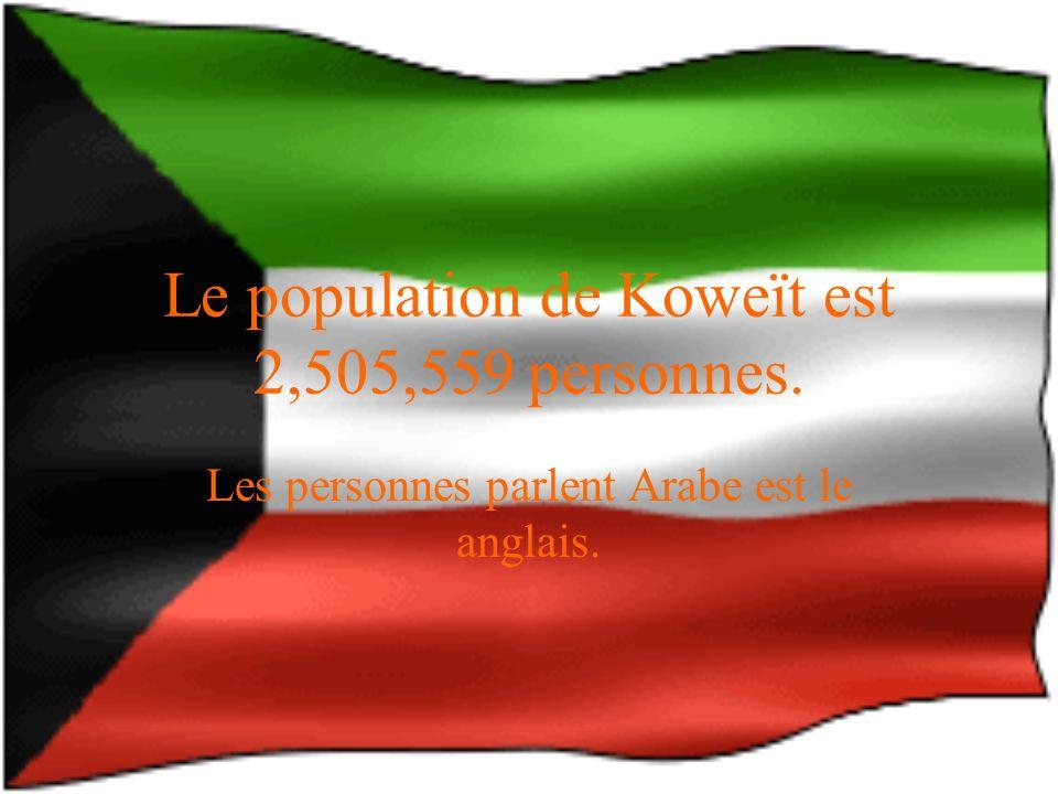 Le population de Koweït est 2,505,559 personnes. Les personnes parlent Arabe est le anglais.