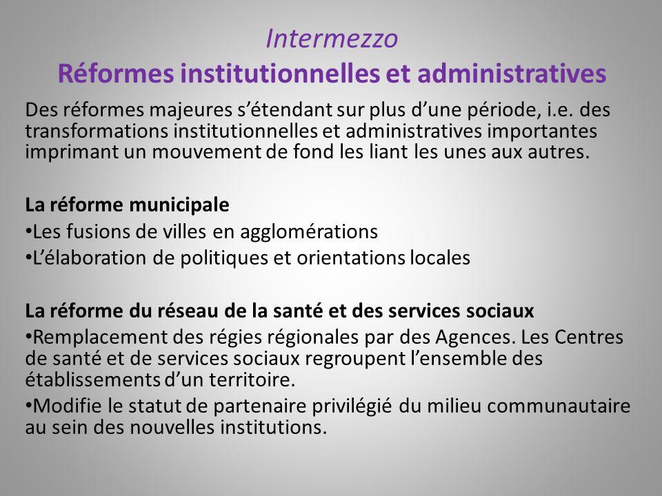 Intermezzo Réformes institutionnelles et administratives Des réformes majeures sétendant sur plus dune période, i.e. des transformations institutionne