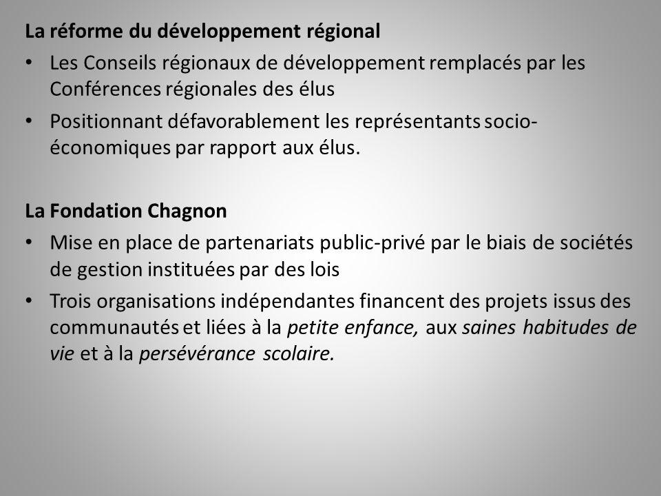La réforme du développement régional Les Conseils régionaux de développement remplacés par les Conférences régionales des élus Positionnant défavorabl