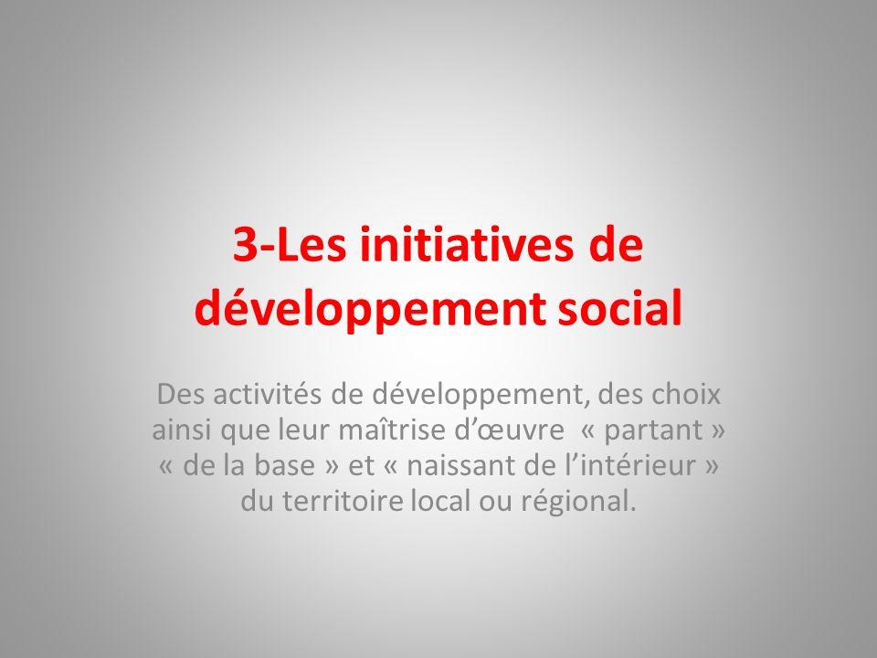 3-Les initiatives de développement social Des activités de développement, des choix ainsi que leur maîtrise dœuvre « partant » « de la base » et « nai