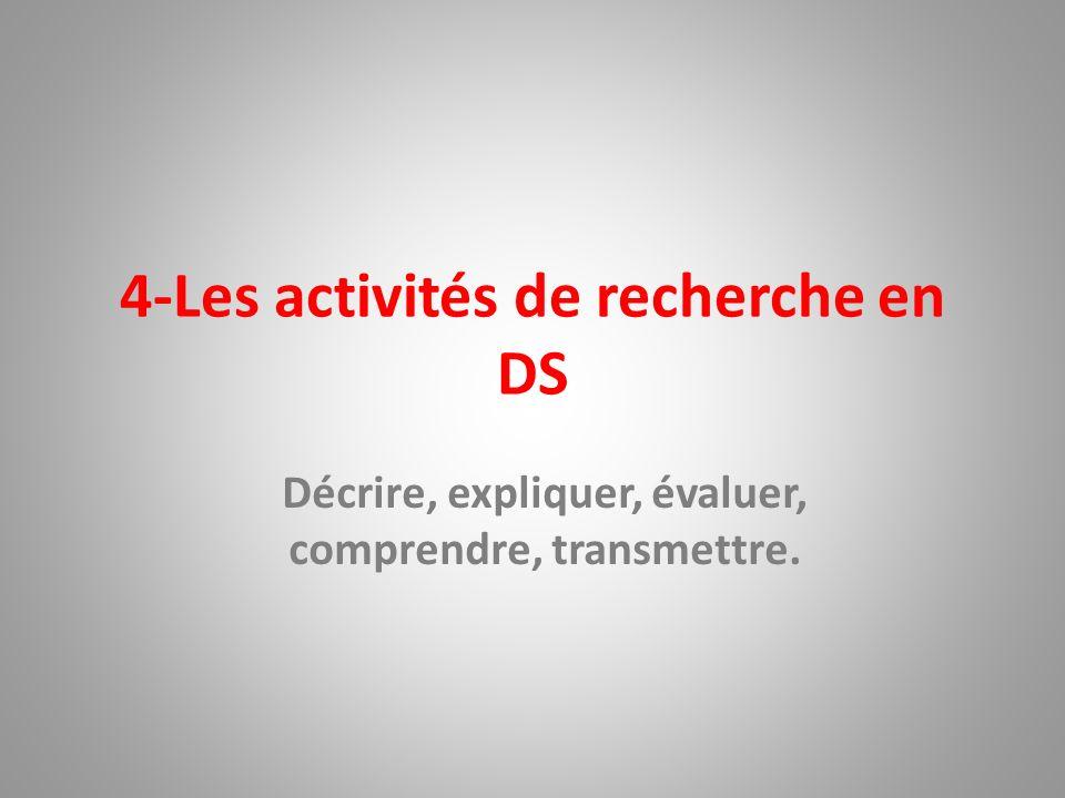 4-Les activités de recherche en DS Décrire, expliquer, évaluer, comprendre, transmettre.