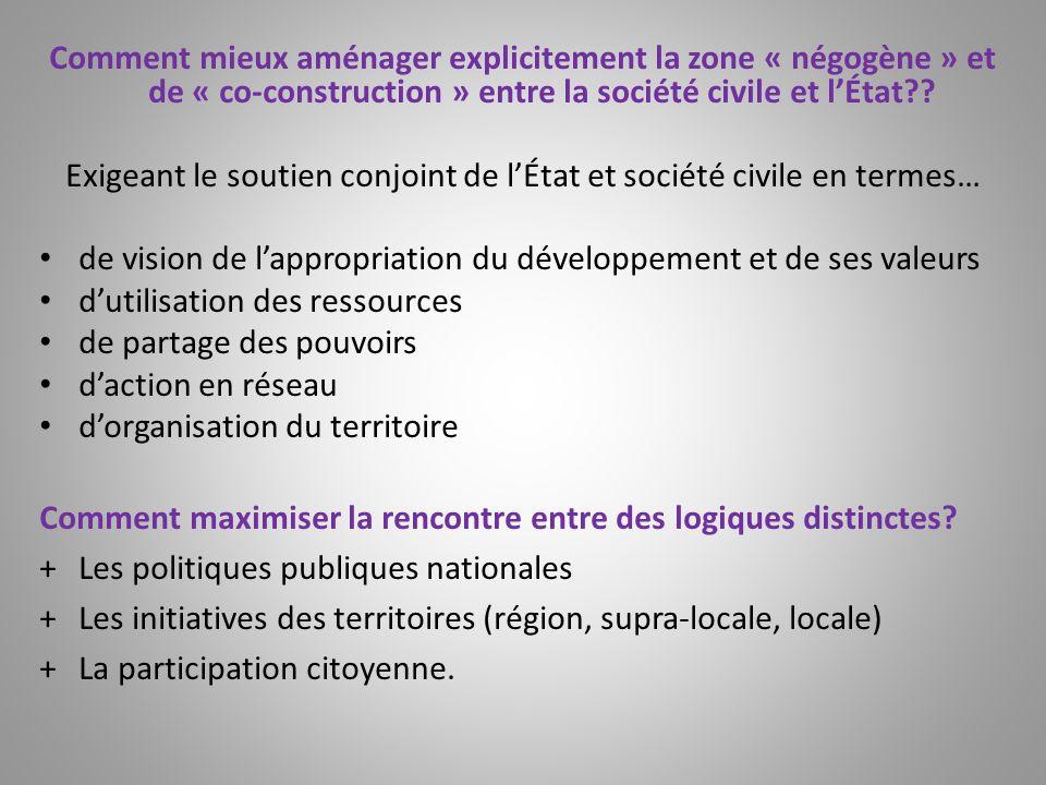 Comment mieux aménager explicitement la zone « négogène » et de « co-construction » entre la société civile et lÉtat?? Exigeant le soutien conjoint de