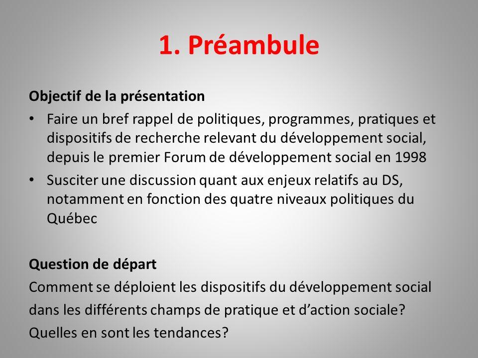 1. Préambule Objectif de la présentation Faire un bref rappel de politiques, programmes, pratiques et dispositifs de recherche relevant du développeme