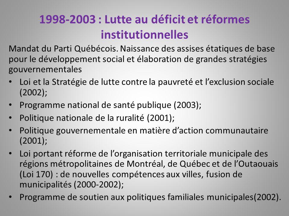 1998-2003 : Lutte au déficit et réformes institutionnelles Mandat du Parti Québécois. Naissance des assises étatiques de base pour le développement so