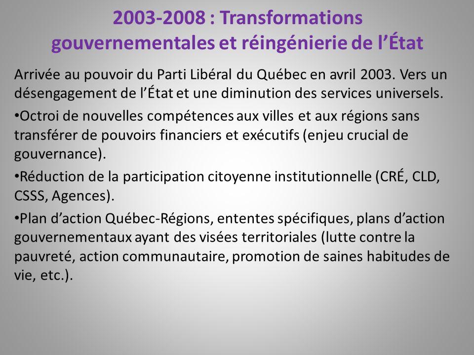 2003-2008 : Transformations gouvernementales et réingénierie de lÉtat Arrivée au pouvoir du Parti Libéral du Québec en avril 2003. Vers un désengageme