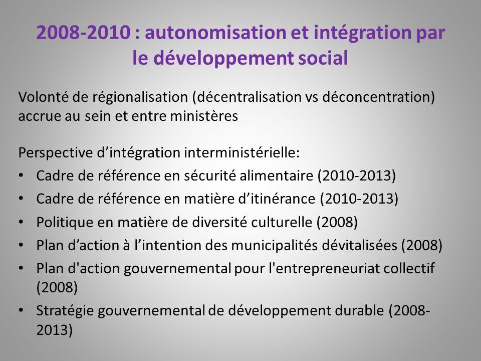 2008-2010 : autonomisation et intégration par le développement social Volonté de régionalisation (décentralisation vs déconcentration) accrue au sein