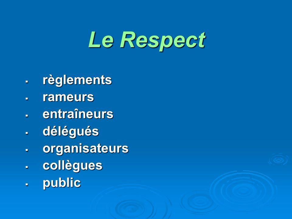 Le Respect règlements règlements rameurs rameurs entraîneurs entraîneurs délégués délégués organisateurs organisateurs collègues collègues public public