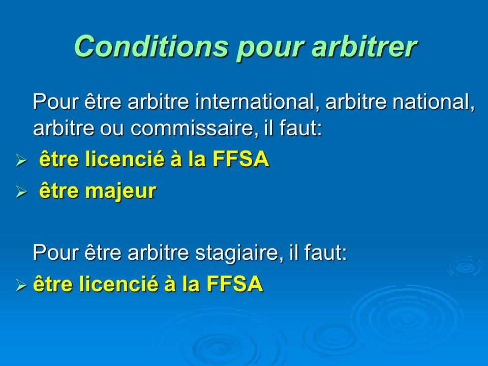 Conditions pour arbitrer Pour être arbitre international, arbitre national, arbitre ou commissaire, il faut: ê être licencié à la FFSA tre majeur Pour être arbitre stagiaire, il faut: être licencié à la FFSA