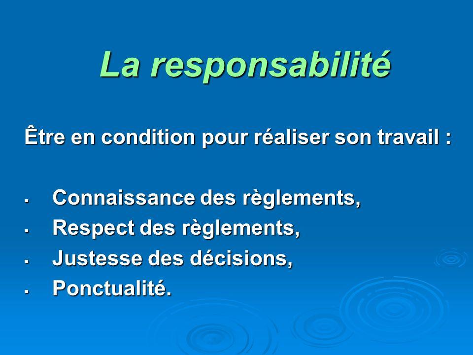 La responsabilité Être en condition pour réaliser son travail : Connaissance des règlements, Connaissance des règlements, Respect des règlements, Respect des règlements, Justesse des décisions, Justesse des décisions, Ponctualité.