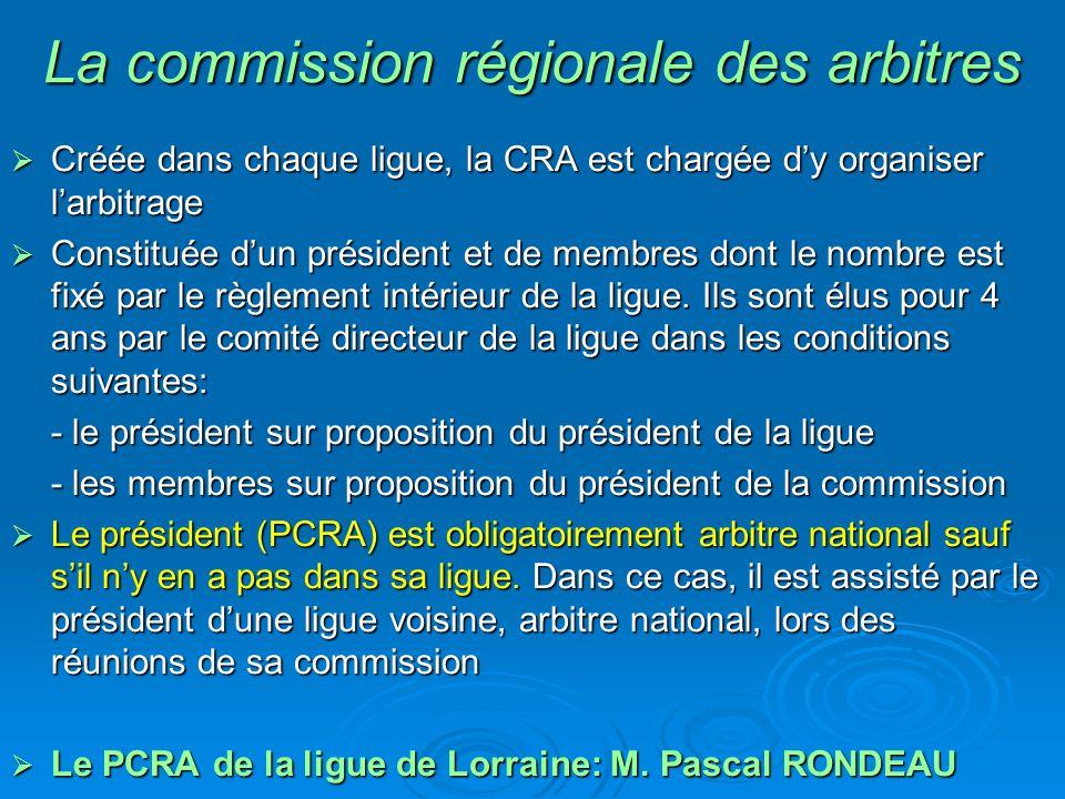 La commission régionale des arbitres Créée dans chaque ligue, la CRA est chargée dy organiser larbitrage Créée dans chaque ligue, la CRA est chargée dy organiser larbitrage Constituée dun président et de membres dont le nombre est fixé par le règlement intérieur de la ligue.