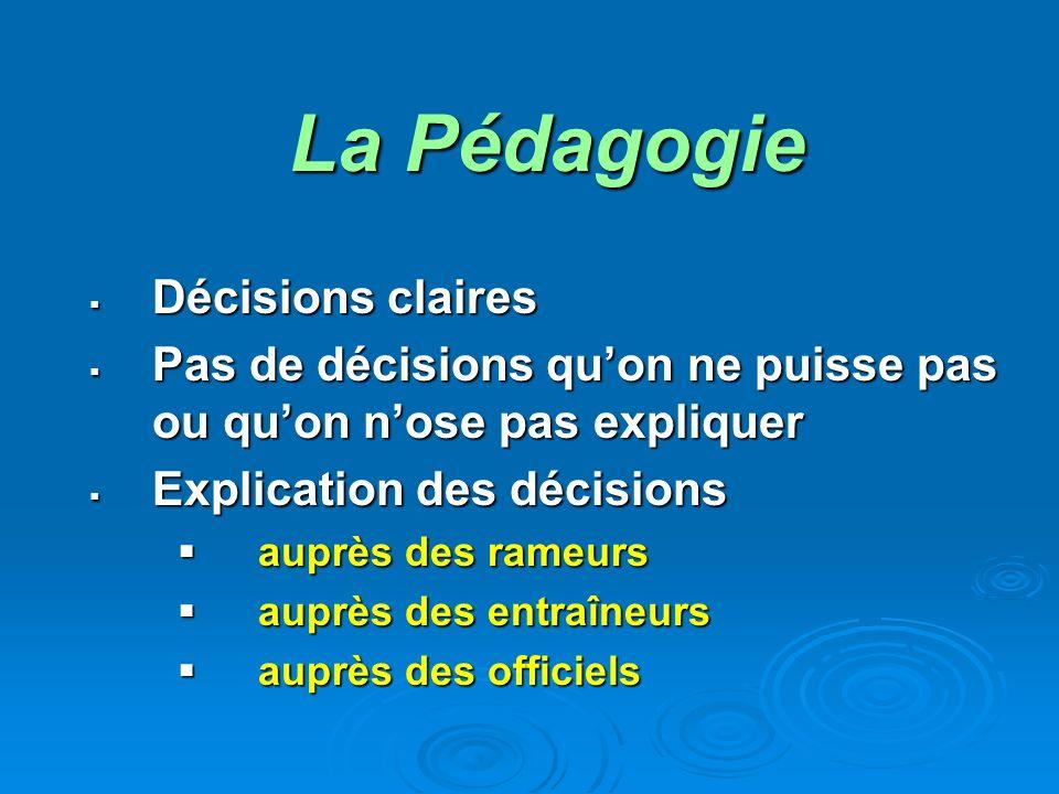 La Pédagogie Décisions claires Pas de décisions quon ne puisse pas ou quon nose pas expliquer Explication des décisions auprès des rameurs auprès des entraîneurs auprès des officiels