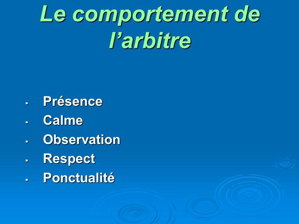 Le comportement de larbitre Présence Présence Calme Calme Observation Observation Respect Respect Ponctualité Ponctualité