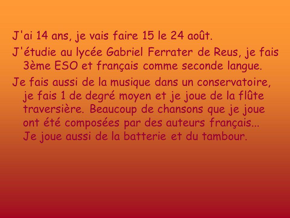 J'ai 14 ans, je vais faire 15 le 24 août. J'étudie au lycée Gabriel Ferrater de Reus, je fais 3ème ESO et français comme seconde langue. Je fais aussi
