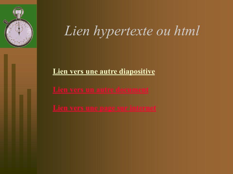Lien hypertexte ou html Lien vers une autre diapositive Lien vers un autre document Lien vers une page sur internet