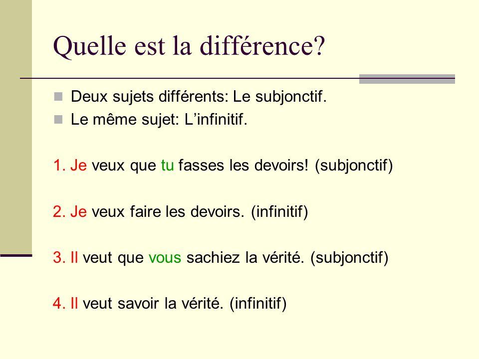 Quelle est la différence? Deux sujets différents: Le subjonctif. Le même sujet: Linfinitif. 1. Je veux que tu fasses les devoirs! (subjonctif) 2. Je v