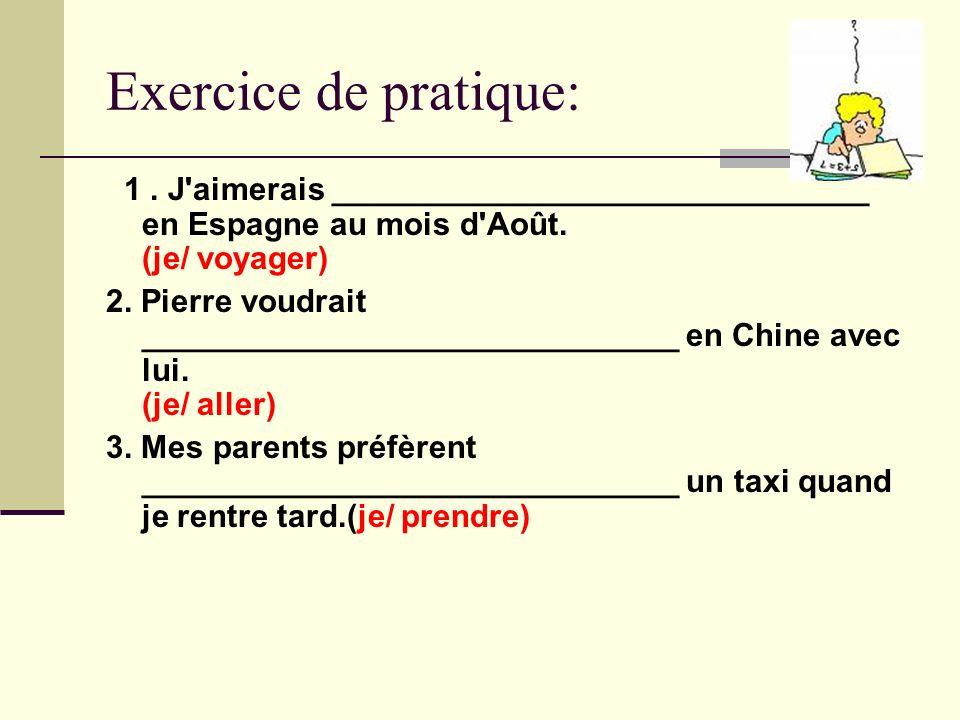Exercice de pratique: 1. J'aimerais ______________________________ en Espagne au mois d'Août. (je/ voyager) 2. Pierre voudrait _______________________