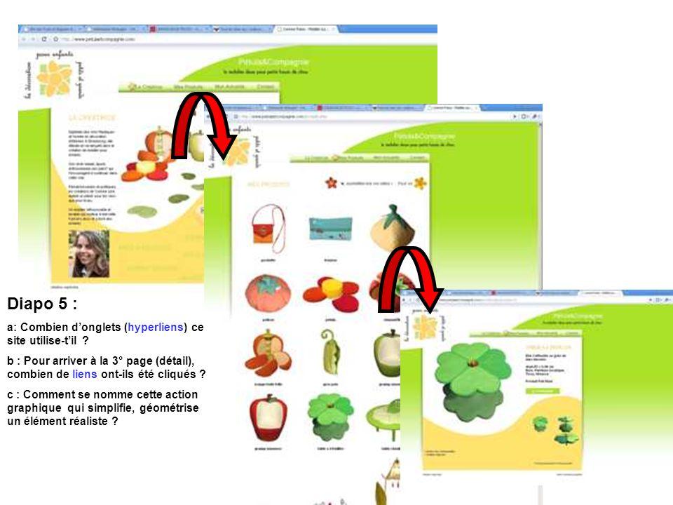 Diapo 5 : a: Combien donglets (hyperliens) ce site utilise-til .
