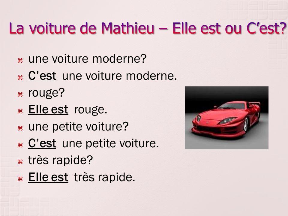 une voiture moderne. Cest une voiture moderne. rouge.