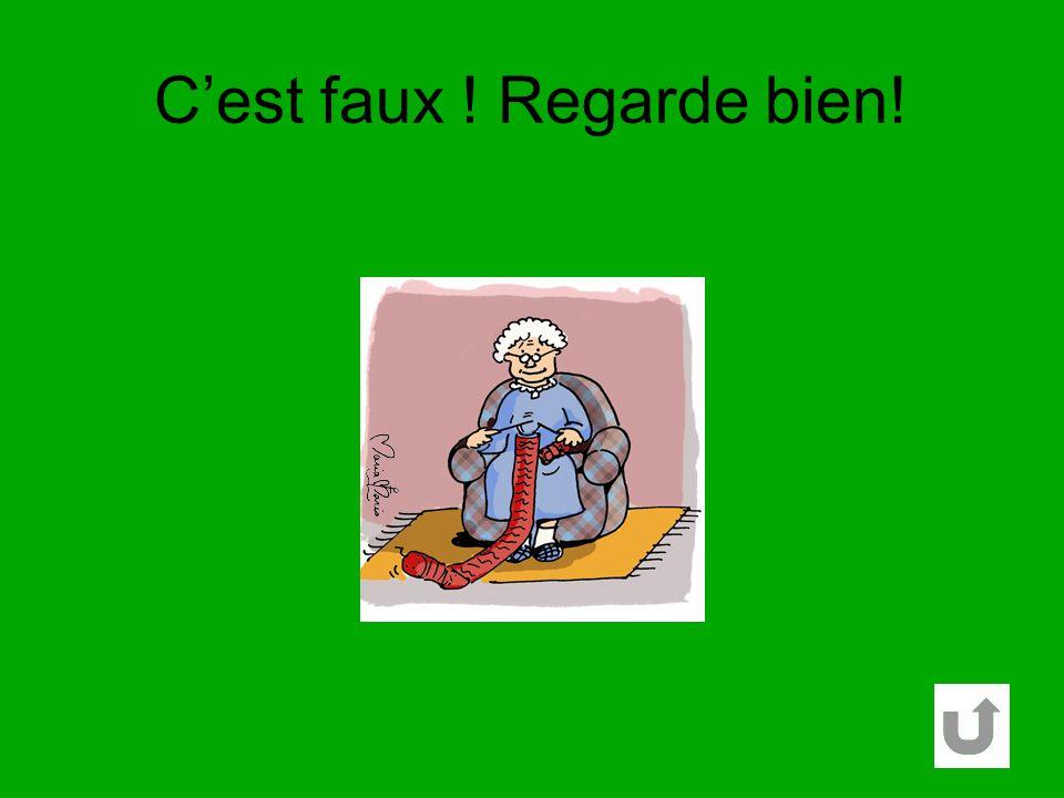 Une grand-mère tricote un pull. Elle est assise sur un fauteuil. La chaussette est verte. La grand-mère a un pantalon bleu. VRAI FAUX VRAI FAUX VRAI F