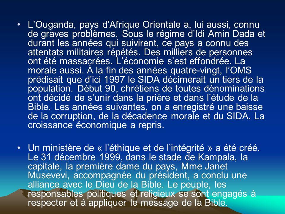 LOuganda, pays dAfrique Orientale a, lui aussi, connu de graves problèmes. Sous le régime dIdi Amin Dada et durant les années qui suivirent, ce pays a