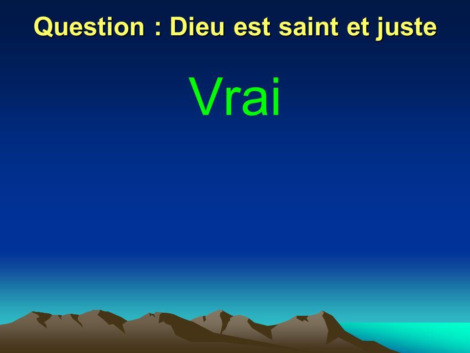 Question : Dieu est saint et juste Vrai