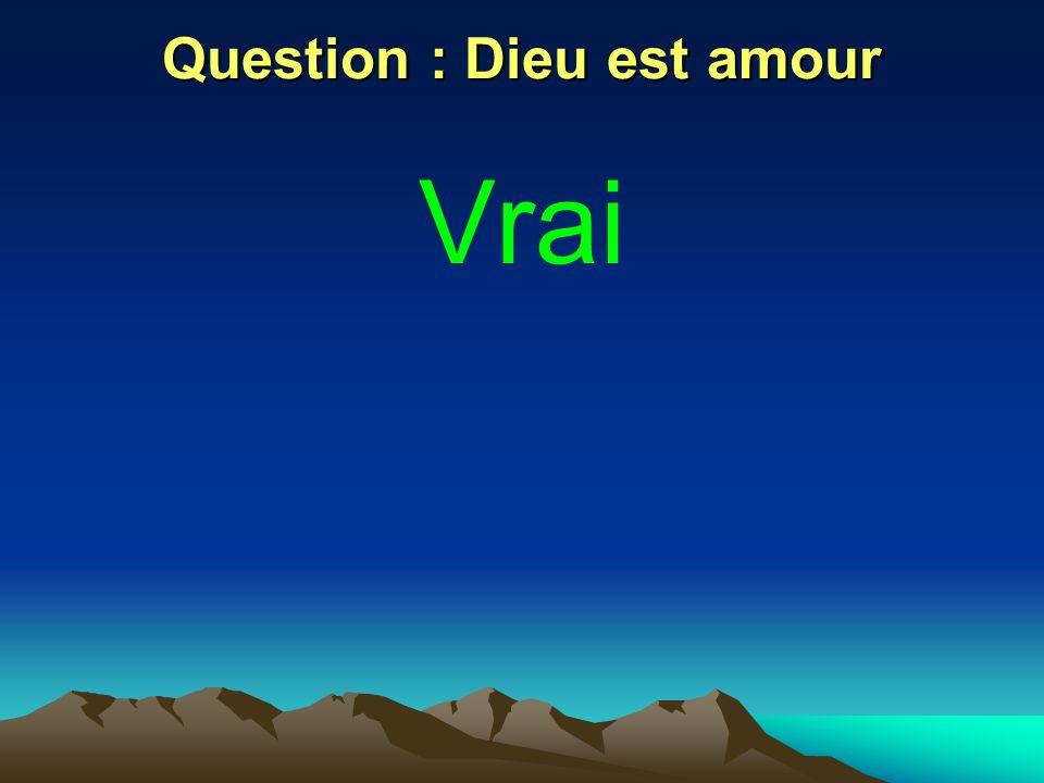 Question : Dieu est amour Vrai