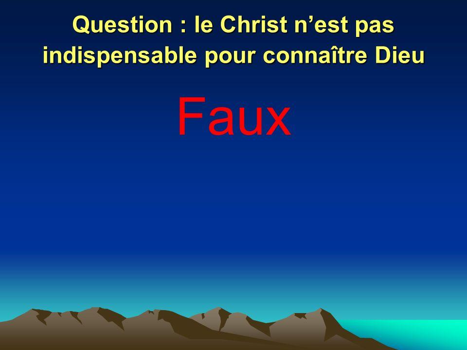 Question : le Christ nest pas indispensable pour connaître Dieu Faux