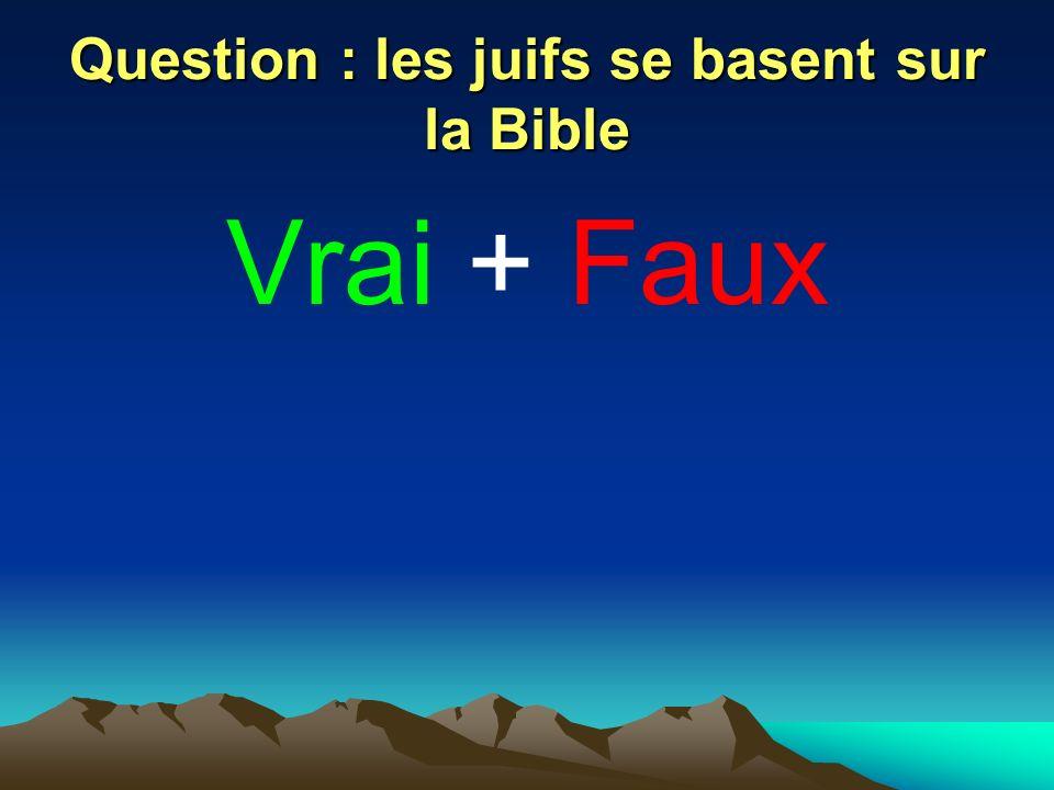 Question : les juifs se basent sur la Bible Vrai + Faux