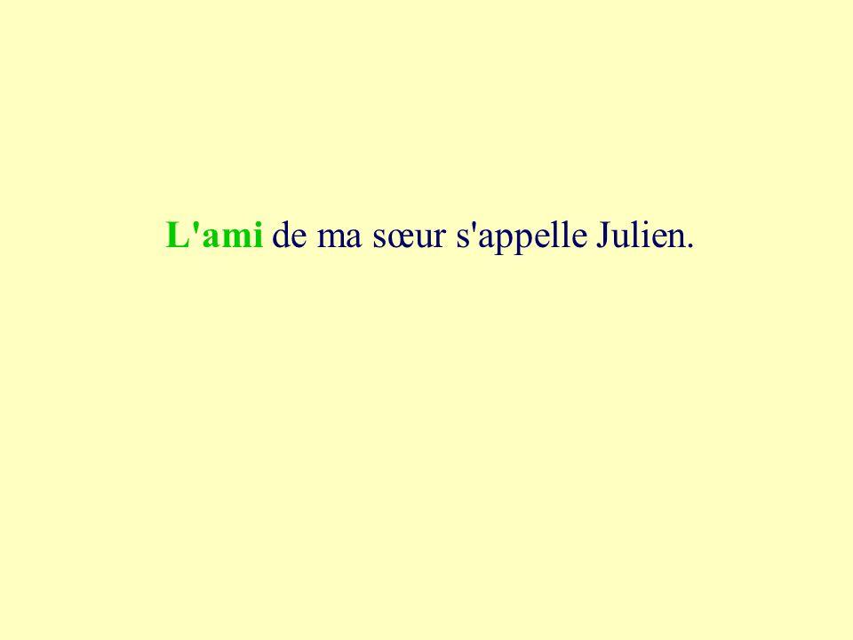 1a l ami de ma sœur s appelle Julien. la mie l ami