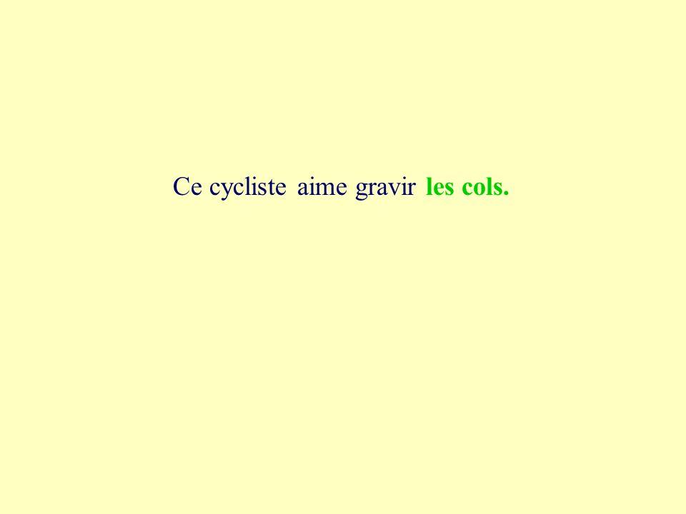 1a les cols Ce cycliste aime gravir les cols lécole