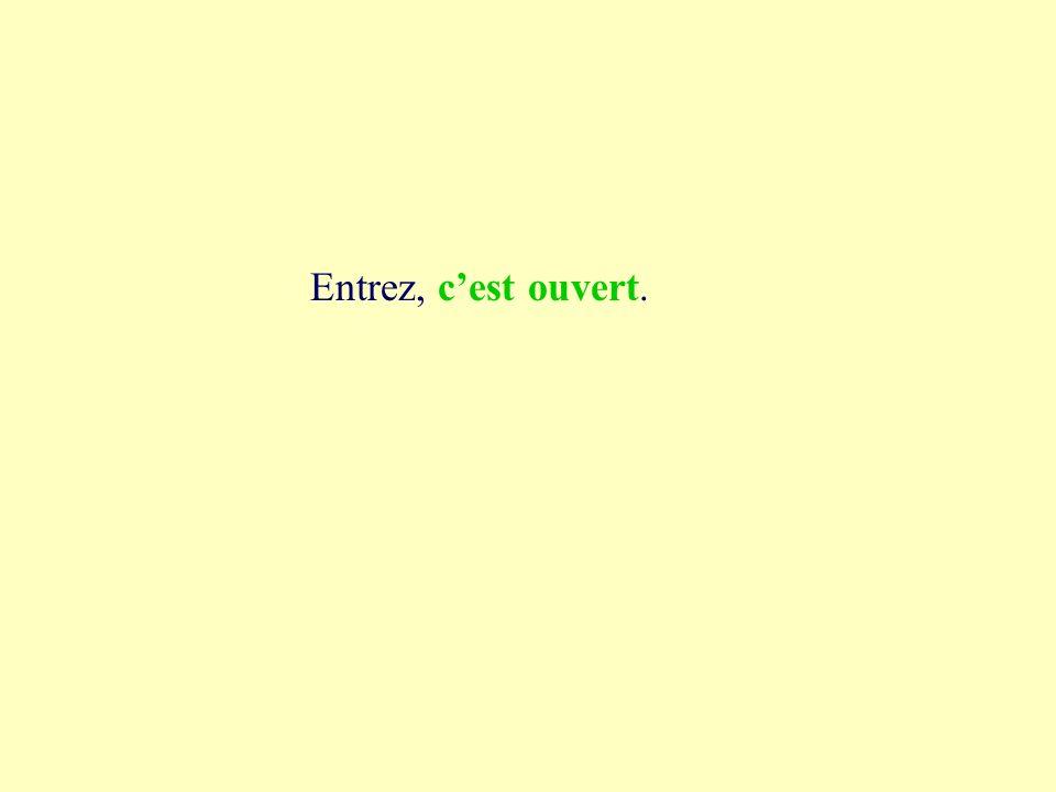 3a cest ouvert Entrez, cest ouvert cest tout vert