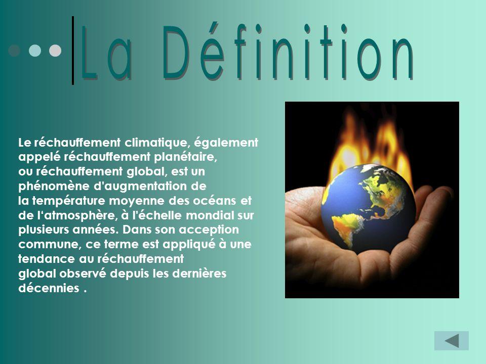 Le réchauffement climatique, également appelé réchauffement planétaire, ou réchauffement global, est un phénomène d'augmentation de la température moy