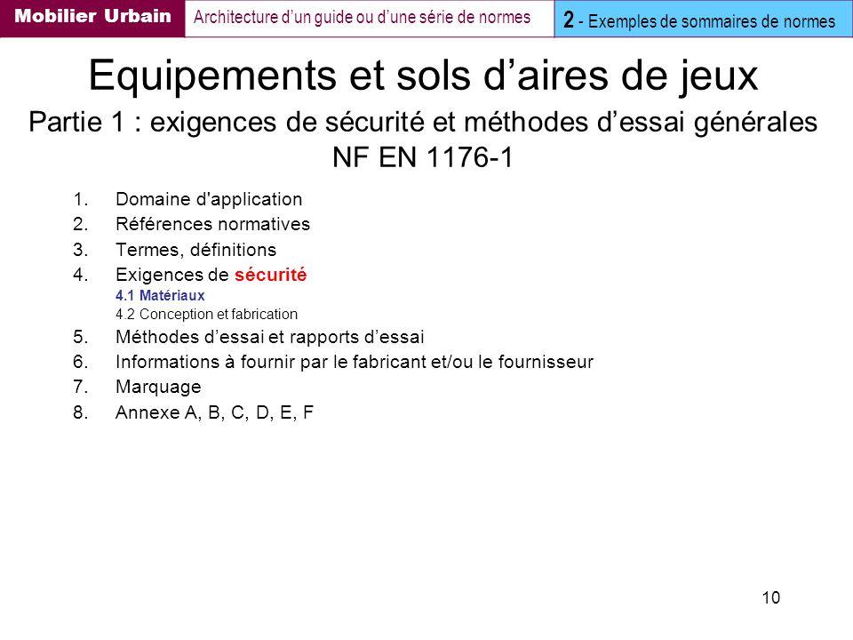 10 Equipements et sols daires de jeux Partie 1 : exigences de sécurité et méthodes dessai générales NF EN 1176-1 1.Domaine d'application 2.Références