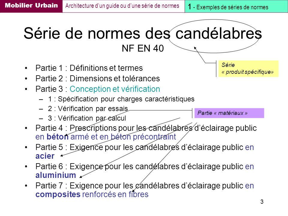 3 Série de normes des candélabres NF EN 40 Partie 1 : Définitions et termes Partie 2 : Dimensions et tolérances Partie 3 : Conception et vérification