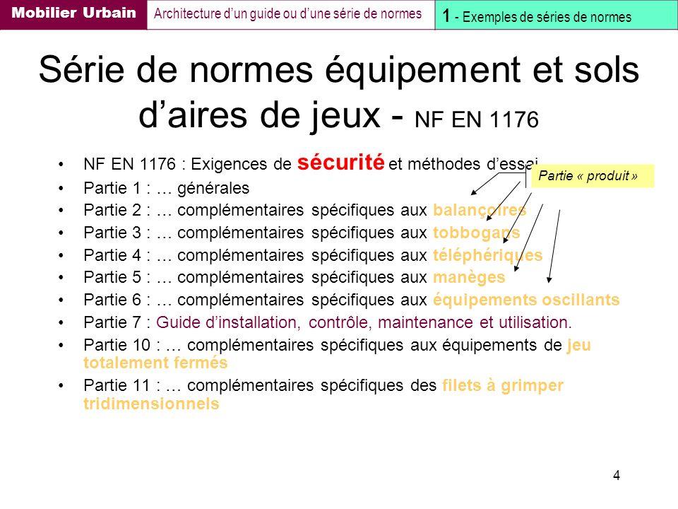 4 Série de normes équipement et sols daires de jeux - NF EN 1176 NF EN 1176 : Exigences de sécurité et méthodes dessai Partie 1 : … générales Partie 2