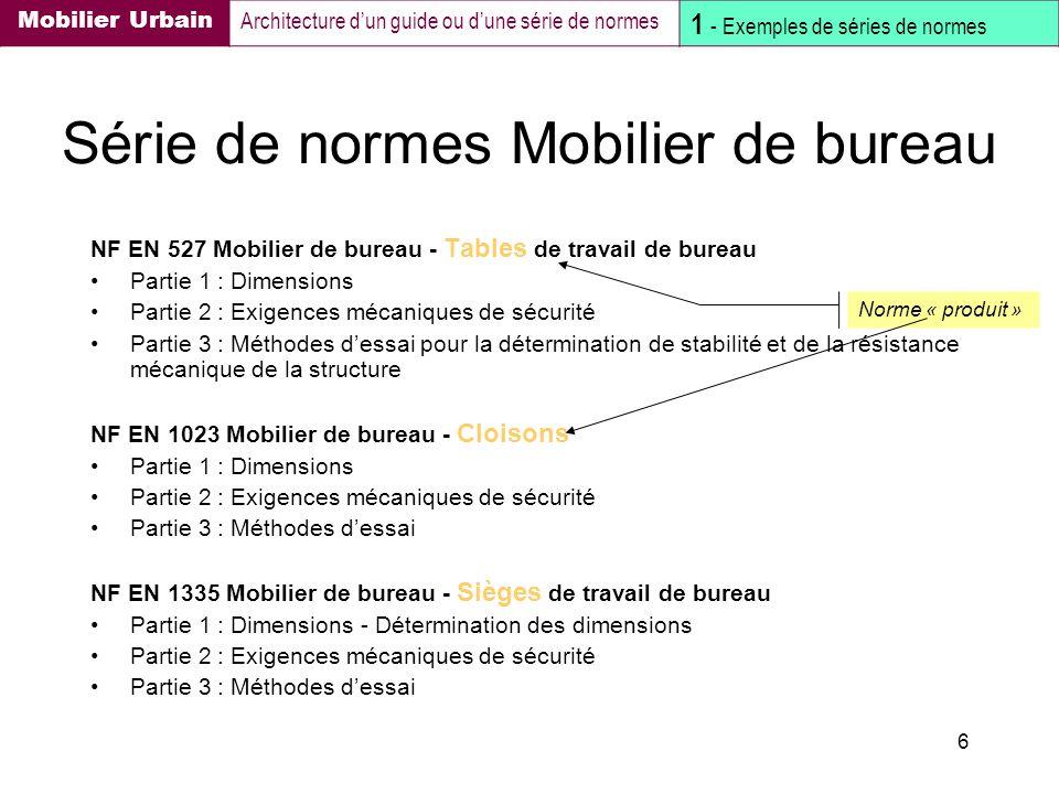 6 Série de normes Mobilier de bureau NF EN 527 Mobilier de bureau - Tables de travail de bureau Partie 1 : Dimensions Partie 2 : Exigences mécaniques