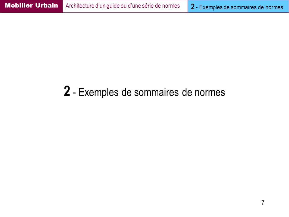 7 2 - Exemples de sommaires de normes Mobilier Urbain Architecture dun guide ou dune série de normes 2 - Exemples de sommaires de normes