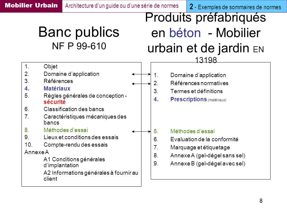 8 Banc publics NF P 99-610 1.Objet 2.Domaine dapplication 3.Références 4.Matériaux 5.Règles générales de conception - sécurité 6.Classification des ba