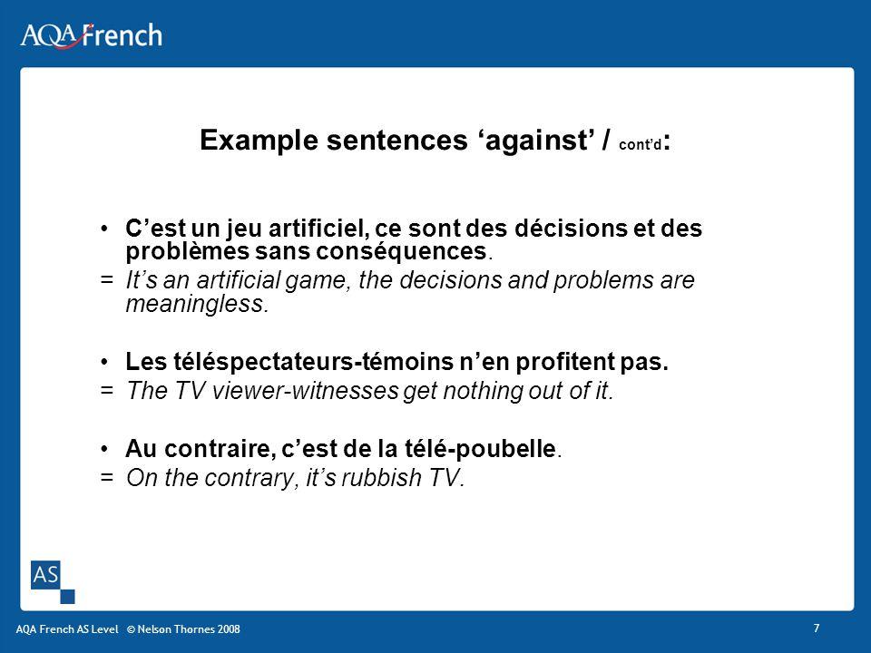1 Formulez trois ou quatre phrases « pour » et « contre » pour construire vos arguments.