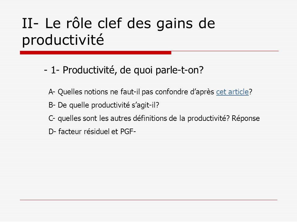 II- Le rôle clef des gains de productivité - 1- Productivité, de quoi parle-t-on? A- Quelles notions ne faut-il pas confondre daprès cet article?cet a