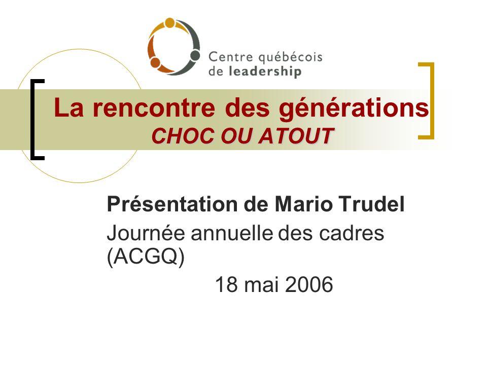 CHOC OU ATOUT La rencontre des générations CHOC OU ATOUT Présentation de Mario Trudel Journée annuelle des cadres (ACGQ) 18 mai 2006